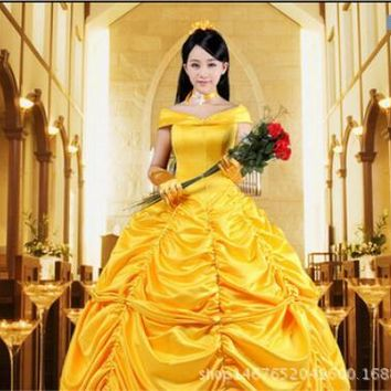 Beauty and the Beast Fancy Dress Cosplay Costume princess belle adult women female Halloween Costumes fancy Costume Suit