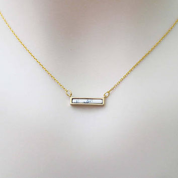 White, Marble, Vertical, Bar, Gold, Necklace, Lovers, Friends, Mom, Sister, Christmas, New year ,Gift
