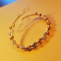 Silver Filled Wire Wrap Bracelet - Polished Czech Beads - Jewelry - Any size
