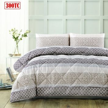 3 Piece 300TC Lena Taupe Jacquard Comforter Set by Accessorize