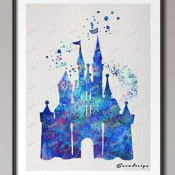 Original watercolor Princess Cinderella Blue Castle canvas painting wall art poster print pictures kids room Home Decoration art