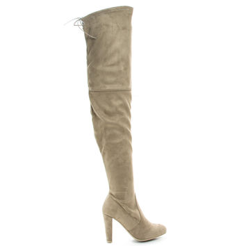 Amaya12 Taupe F-Suede by Wild Diva, Taupe Suede OTK Over The Knee Dress Boots w Laced Back, Block Heel & Slouchy Shaft