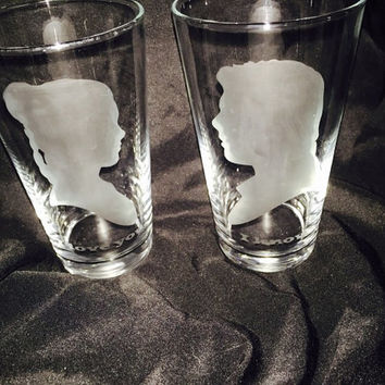 Han and Leia etch glass - pint glass - beer mug - shot glass - Whiskey