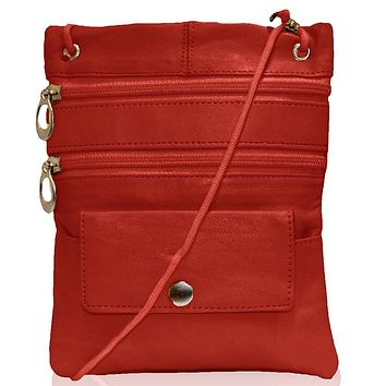 Genuine Leather Multi-Pocket Crossbody Purse Bag - Red
