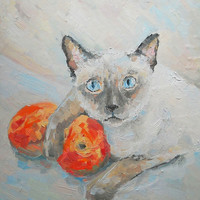 Pet Still Life Original Impasto Oil Painting from Photo Cat and Peaches Custom Child Room Wall Decor Personalized gift Contemporary Fine Art