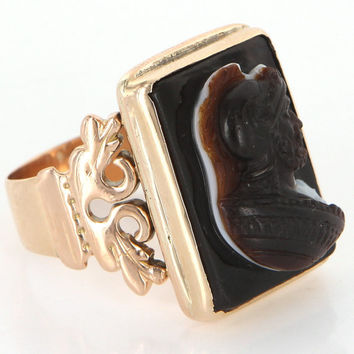 Victorian 14 Karat Rose Gold Sardonyx Cameo Mens Ring Vintage Jewelry 9