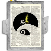Zero Jack & Sally on a Moonlit Night Fandom Print on an Unframed Upcycled Bookpage