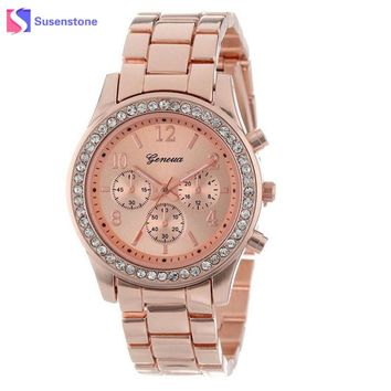 2018 Luxury Brand Women Stainless Steel Band Analog Quartz Watch Classic Crystal Dress Wrist Watches Ladies Casual Watch Clock