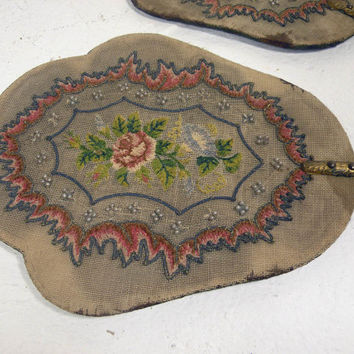 Antique French fire-side fans.  Antique womens' decorative fans. shabby chic fire face screen. French antique vanity screens. chateau chic