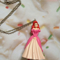 SALE Vintage Little Mermaid Ariel Silver Plated Chain Disney Pink Gown Disneyland Birthday Party Gift Necklace
