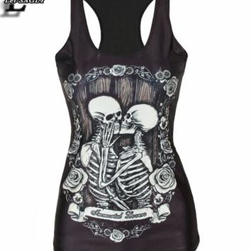 2018 Spring Summer Kiss Skull Black Punk Women Fashion T shirt Fitness Elastic Harajuku Vest Tops Sexy  Tank Top V46