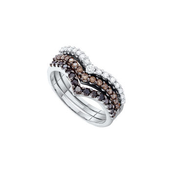 14kt White Gold Womens Round Black Colored Diamond Chevron Stackable 3-piece Band Ring 1.00 Cttw 52334