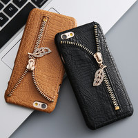 Retro Capa Case For iPhone 7/7Plus Zip Leather Back Wallet Card Holder Shell