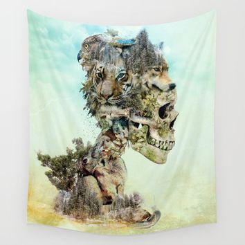 Nature Skull Wall Tapestry by RIZA PEKER