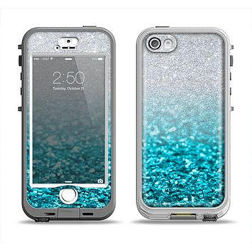 The Turquoise & Silver Glimmer Fade Apple iPhone 5-5s LifeProof Nuud Case Skin Set