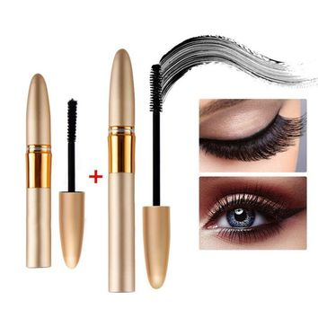 2Pcs/set Double Mascara Waterproof Curling Mascara Fiber Mascara Makeup Black Long Lash Eyelash Mascaras