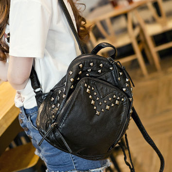 Fashion Street Style Studded Leather Large Backpack Daypack Travel Fashion Bag Motorcycle Fashion Bag
