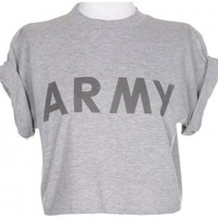 Rokit Recycled Army Cropped T-Shirt - Vintage clothing from Rokit - cropped t-shirt, top