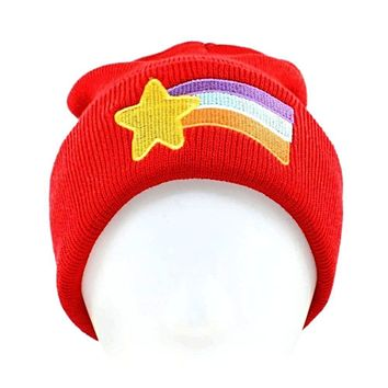 Womens Cute Kawaii Rainbow Shooting Star Embroidered Beanie Knitted Hat