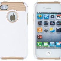 DandyCase 2in1 Hybrid High Impact Hard Dual Layer Case Cover For Apple iPhone 4S & iPhone 4 + DandyCase Screen Cleaner (White & Gold)
