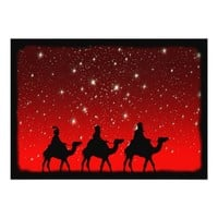 Christmas Wise Men Red Sky Star Lite Night Card