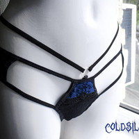 Blue panties,strappy panties, strappy thong,velvet panties,black lace,sexy lingerie,gift for her