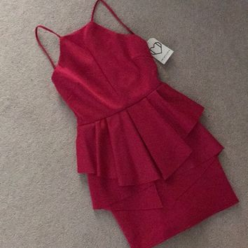 Fuschia pink peplum dress
