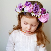 Custom Wire Form Flower Crown * Customized Flower Girl Headband * You Pick the Colors * Bridal, Bridesmaid * Lace, Floral, Greenery, Mixed