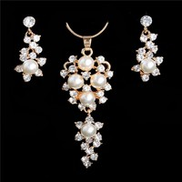 Romantic Simulated Pearl Crystal Necklace & Earrings Sets