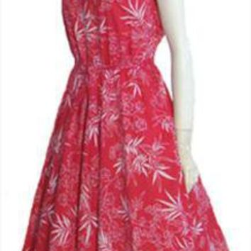 50s Style Red Cotton 70s Vintage Sundress