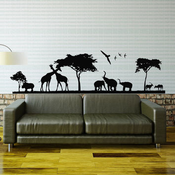 African Safari Wall Decal Jungle Animals Wall Decals Stickers- Giraffe Elephant Tree Animals Decal Nursery Living Room Bedroom Decor 0060