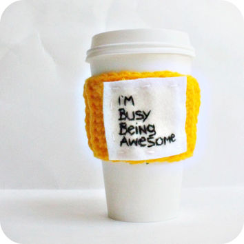 Funny Travel Mug Coffee cozy Tea cosy Awesome yellow black starbucks cup crochet cover spring