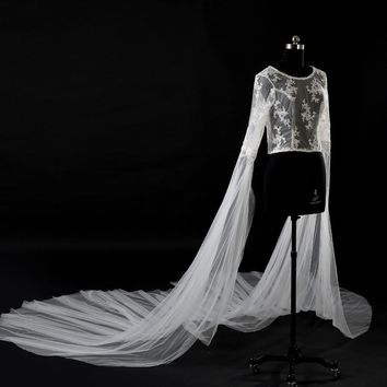Wedding bolero new O-Neck lace bead long sleeve luxury 3 m bridal capes real photo wedding evening jacket custom cape mariage