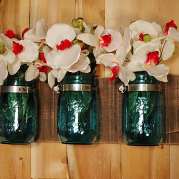 Anniversary Edition Blue Mason Jars on single Espresso painted or whitewashed wood board rustic wall decor
