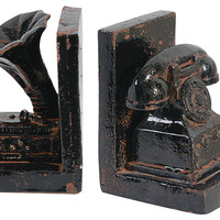 Victrola & Rotary Phone Bookends, Bookends