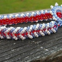 Beaded Bracelet and Toggle Clasp Red White and Blue