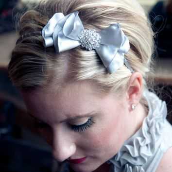 Francis  Silver Sparkle bow headband by PixelandHank on Etsy