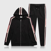 GGUCCI Tide brand men's personality wild casual hooded running sports suit two-piece black