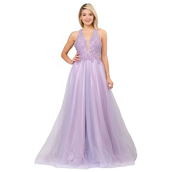 Beaded Long Prom Dress with Strappy Open-Back Lavender