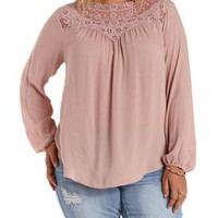 Plus Size Taupe High-Neck Lace Yoke Top by Charlotte Russe