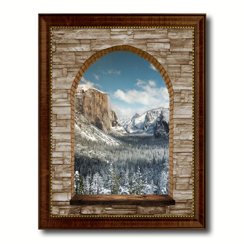 Bridal Veil Falls Yosemite National Park Winter Picture 3D Arch Window Canvas Print with Frame Home Decor Wall Art Collection