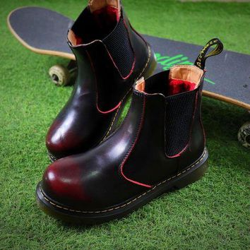 NOV9O2 Newest Dr. Martens Wine Chelsea Boots 2976 Cashmere Inner