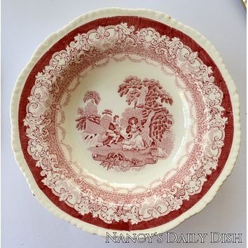 Romantic Watteau Red Transferware Shallow Rimmed Salad Bowl Victorian Gardens