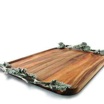 Acorn Oak & Leaf Wood Tray - Large
