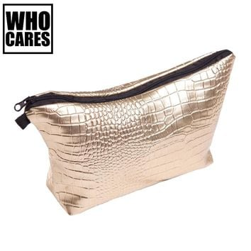 Alligator Gold Makeup Bags PU Geometric Bag For Ladies Pouch Women Portable Zipper Cosmetic Bag cosmetiqueras para maquillaje
