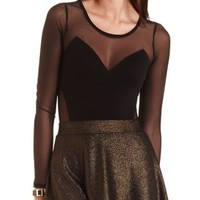 Mesh Cut-Out Long Sleeve Bodysuit by Charlotte Russe - Black