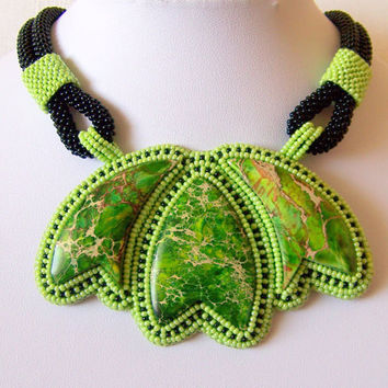 Statement Beadwork Bead Embroidery Pendant Necklace with Green Sea Sediment Jasper - THE MAGICAL TULIP - green - black