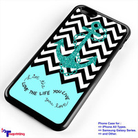 Chevron Anchor Logo with Glitter Infinity - Personalized iPhone 7 Case, iPhone 6/6S Plus, 5 5S SE, 7S Plus, Samsung Galaxy S5 S6 S7 S8 Case, and Other