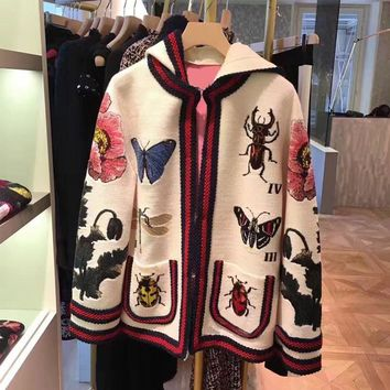 Trendy High Quality Embroidery Coat Women Embroidered Butterfly Insect Flowers White Cardigan Jacket with Hooded AT_94_13