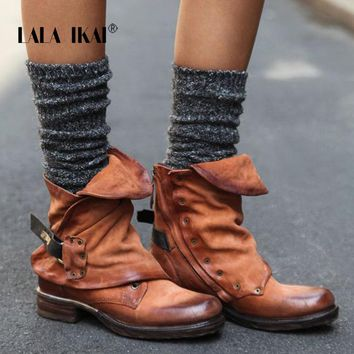 LALA IKAI Pleated Chelsea Boots Women PU leather Plus Size Ankle Boots Round Toe Low Heel Autumn Short Boots 014N1364 -3